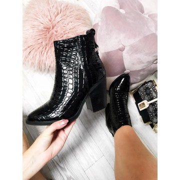 Black Croc Western Style Boots