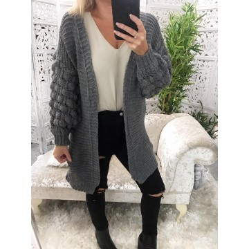 Charcoal Bubble Sleeve Cardie