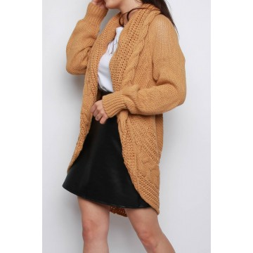 Camel Chunky Knitted Batwing Cardigan ONE SIZ FIT to UK 16/18