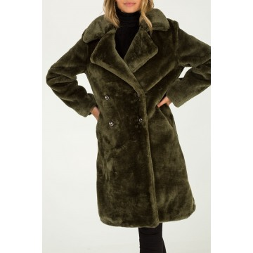 Double Breasted Faux Fur Coat - Olive - ORDER ONE SIZE DOWN