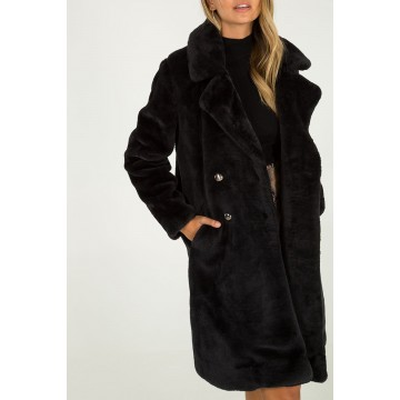 Double Breasted Faux Fur Coat - Black - ORDER ONE SIZE DOWN