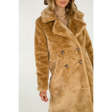 Double Breasted Faux Fur Coat - Caramel - ORDER ONE SIZE DOWN