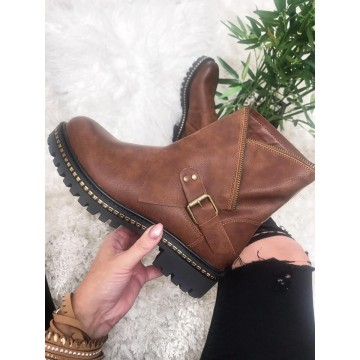 Anya Tan Zip up Studded Ankle Boots