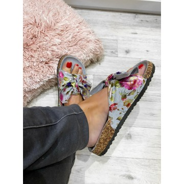 SiSi Grey Suedette floral sliders