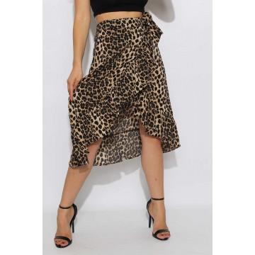 Leopard Frill Wrap Skirt