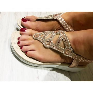 Rose Gold Star Gaze Sandals with Toe Post