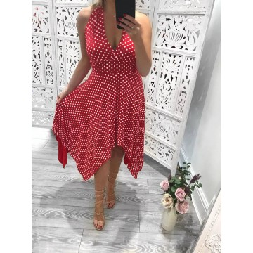 Marilyn Red Polka Dot Hankichief Dress SIZES UK 8-26
