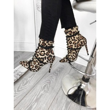 Leopard Print  Stiletto Studded Ankle Boots