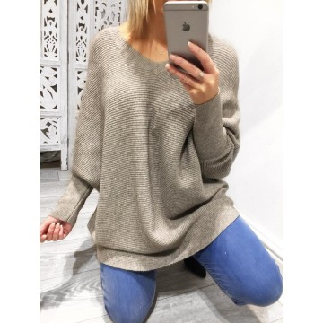 Mocha Ribbed Oversized Batwing Jumper