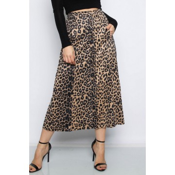 Suedette Leopard Midi Skirt with Pockets