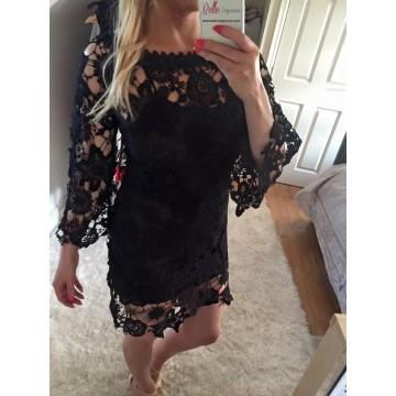 Crochet Bardot Mini Dress