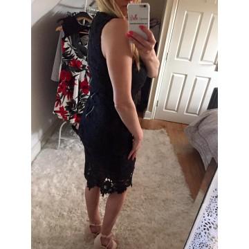 Black Crochet Lace Midi Dress