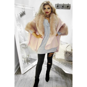 Faux Fur Pink Cape - ONE SIZE Fits up to size 20