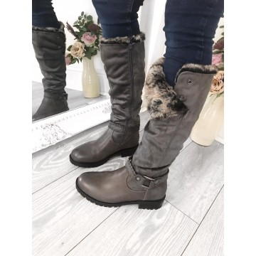 NIKI - Grey Faux Fur Lined Knee High Flat Boots