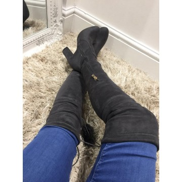 Over the Knee Grey Suede Boots