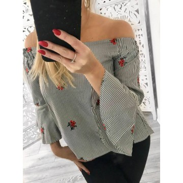 Bardot Pin Striped Bell Sleeved Blouse with Red Flower