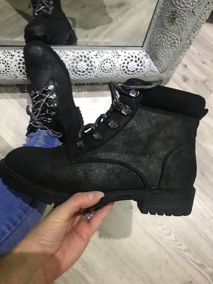 Black Sparkling Ankle Boots