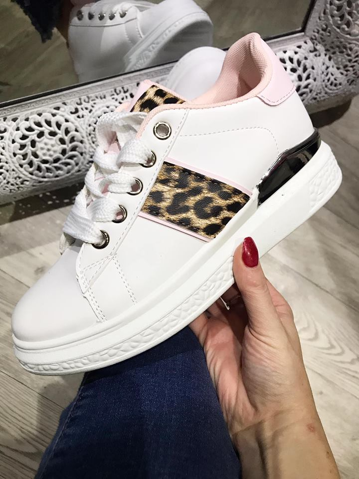 Dena  - Leopard Chunky Trainers - Pink