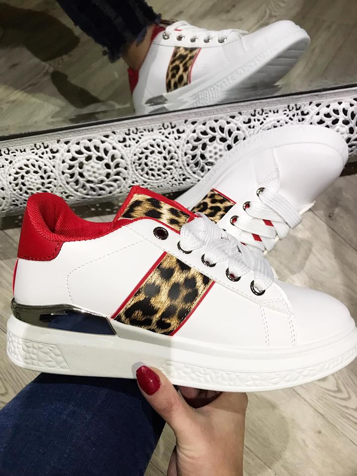 Dena - Leopard Chunky Trainers - Red