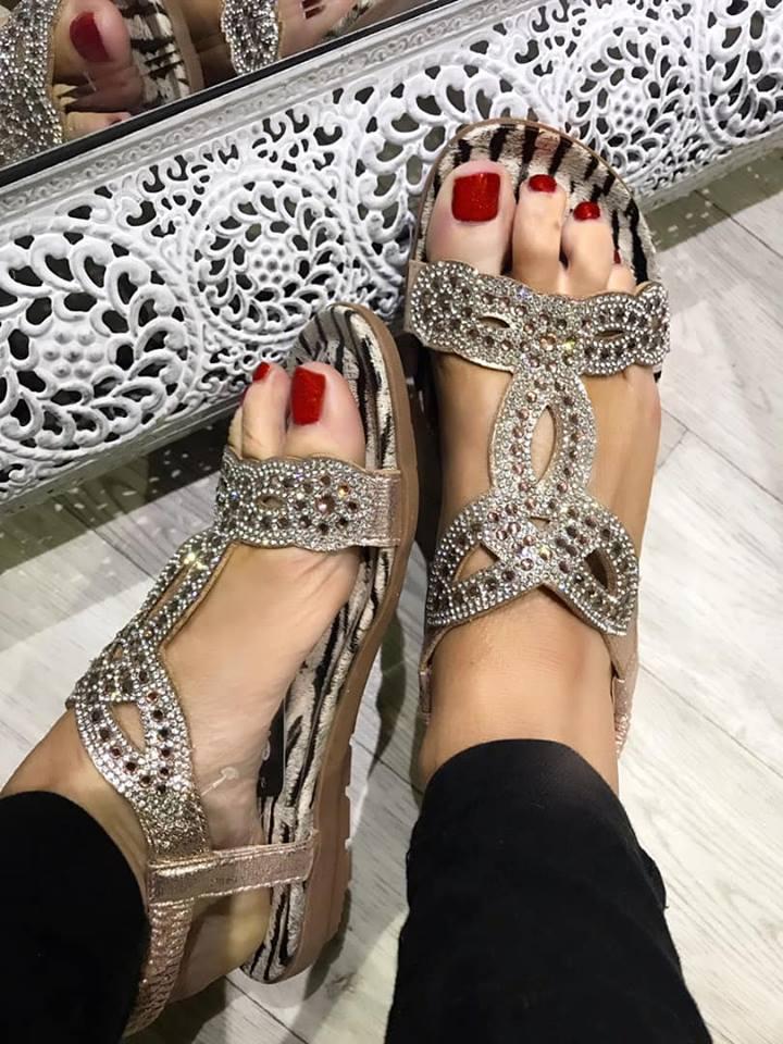 Zebra Rose Gold Sandal - Regular to Wide Fit
