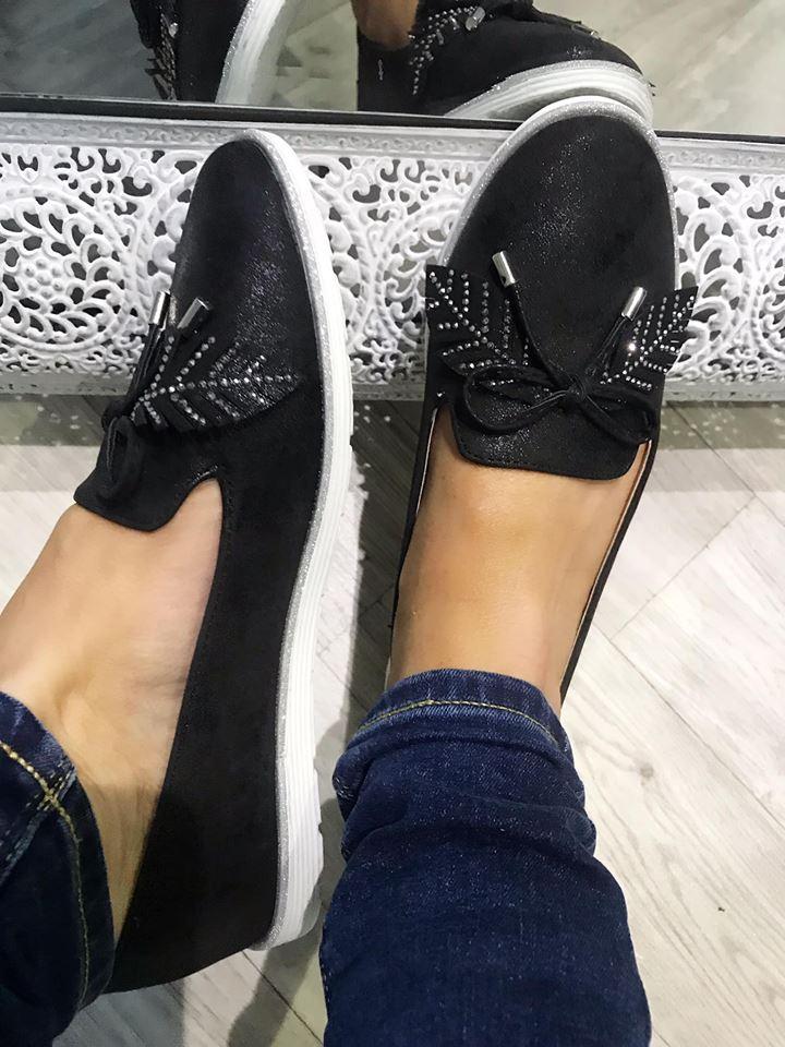 £10 Black Leaf Diamanté Comfort Loafers