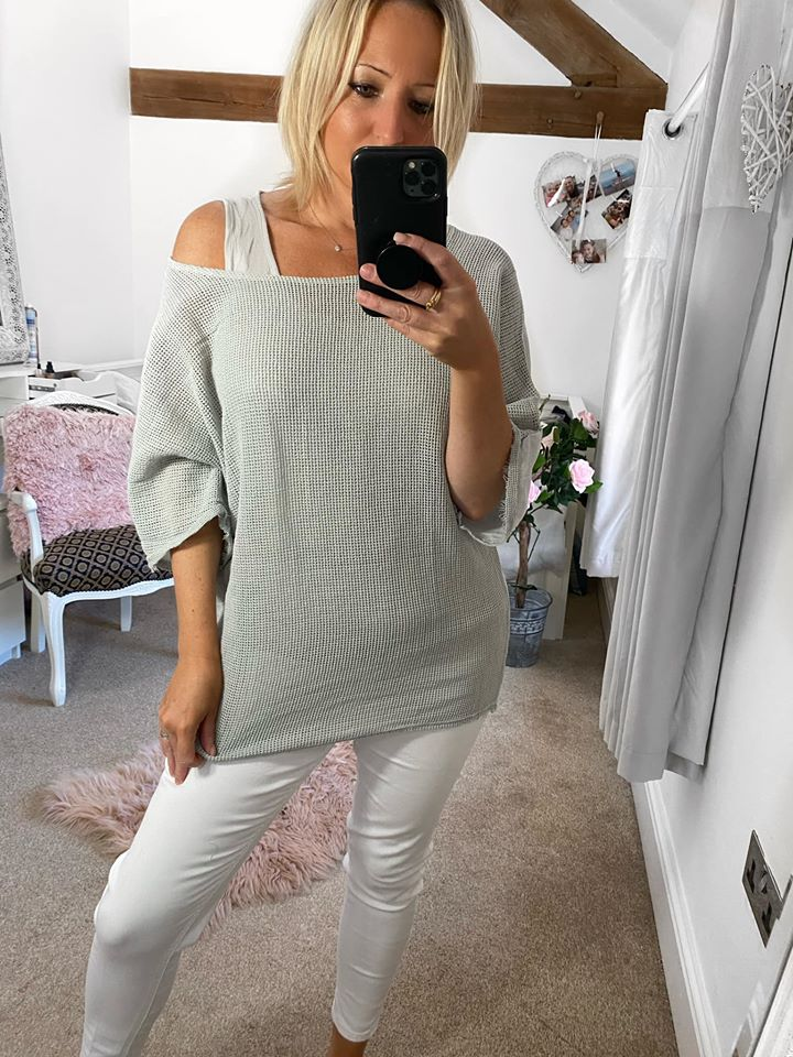 Light Grey  Layered Mesh Top With Vest
