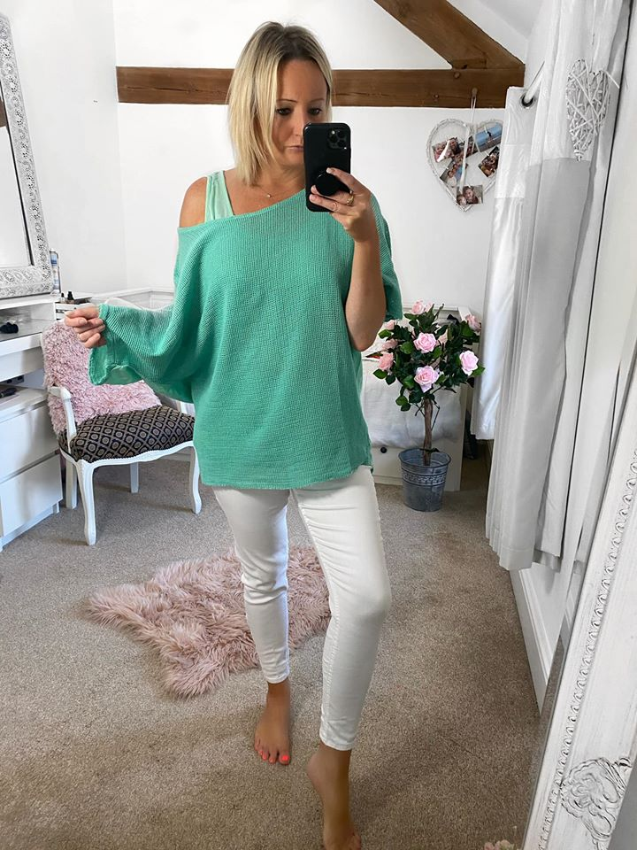 Mint Layered Mesh Top with Vest