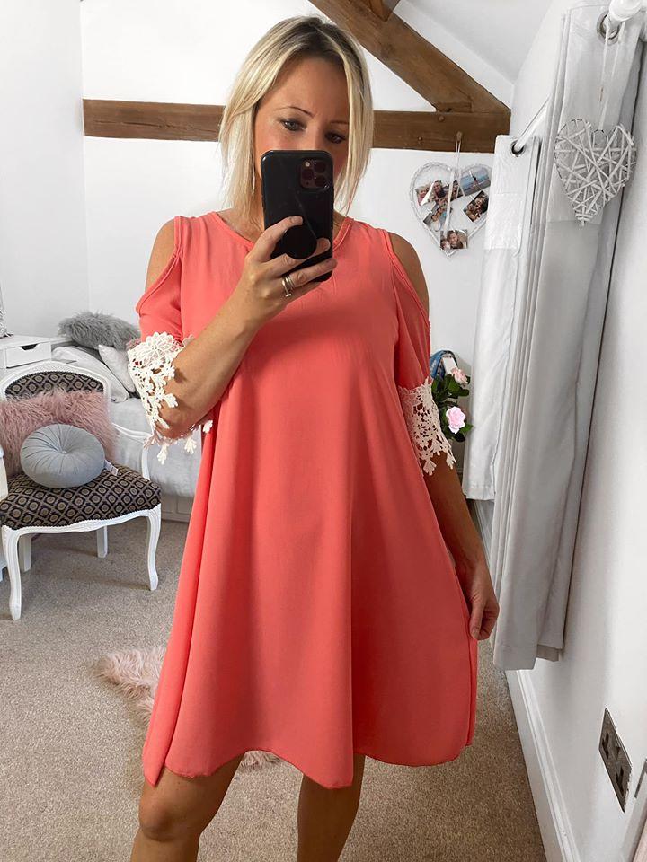Coral Cold Shoulder Smock Dress