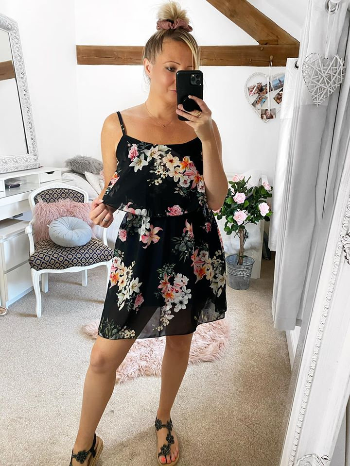 Black Floral Layered Strap Mini Dress - Pink Lilly