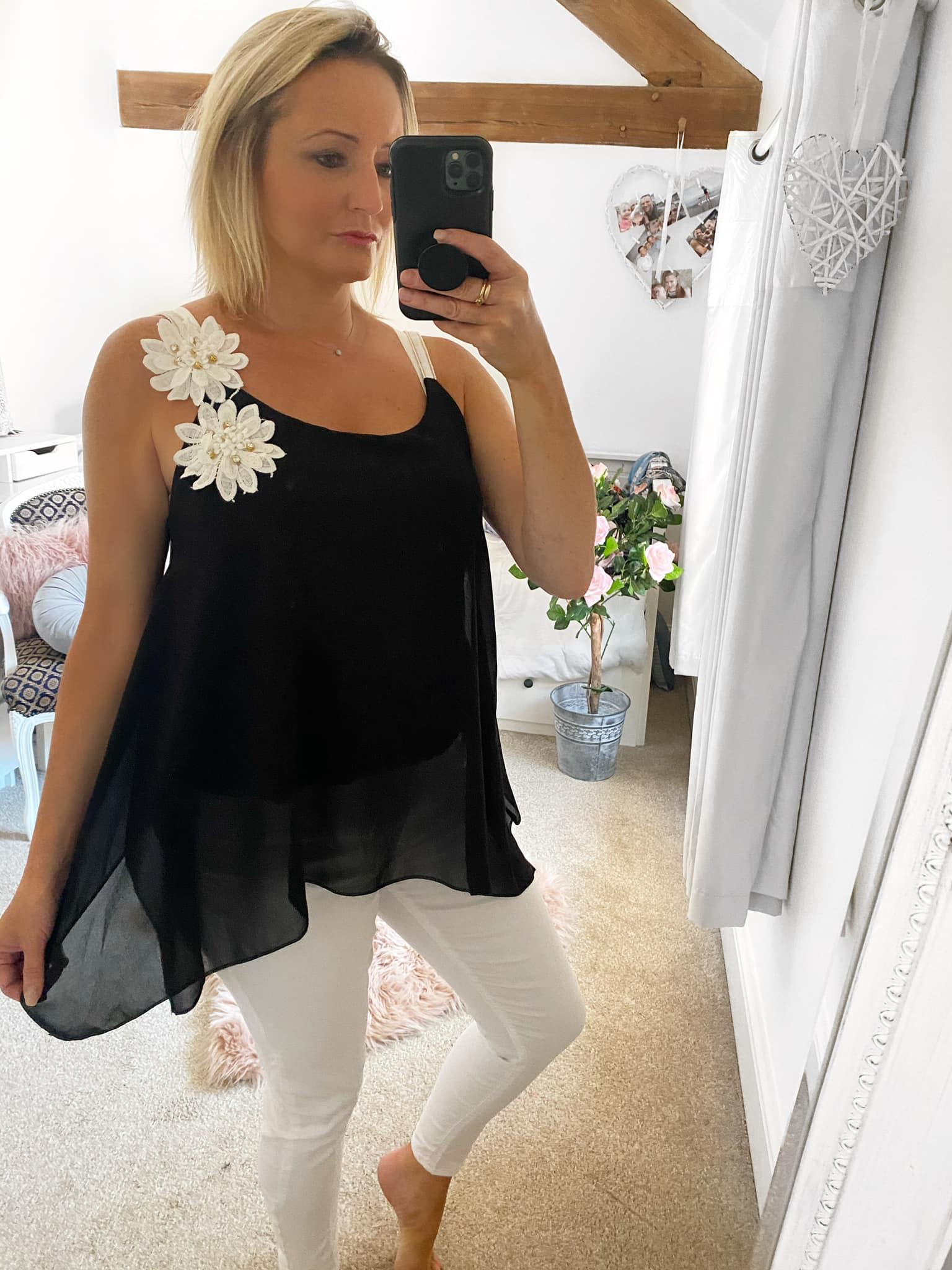 Black Floaty Chiffon Vest with White Shoulder Flower