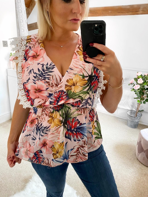 Joanna Pink floral  chiffon top