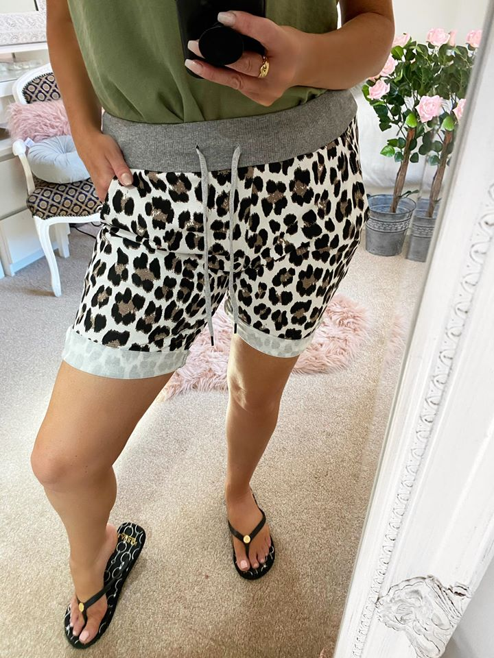 Leopard Elasticated Shorts - ONE SIZE fits up to UK 16