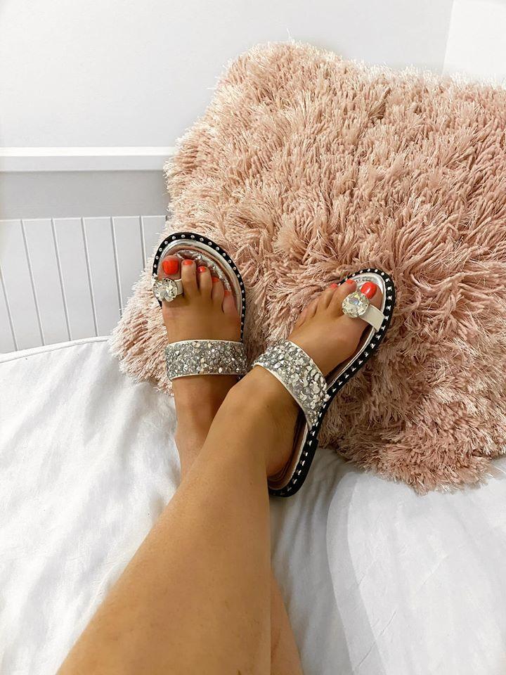 Scarlett Jewelled Toe Post Sandals - Silver