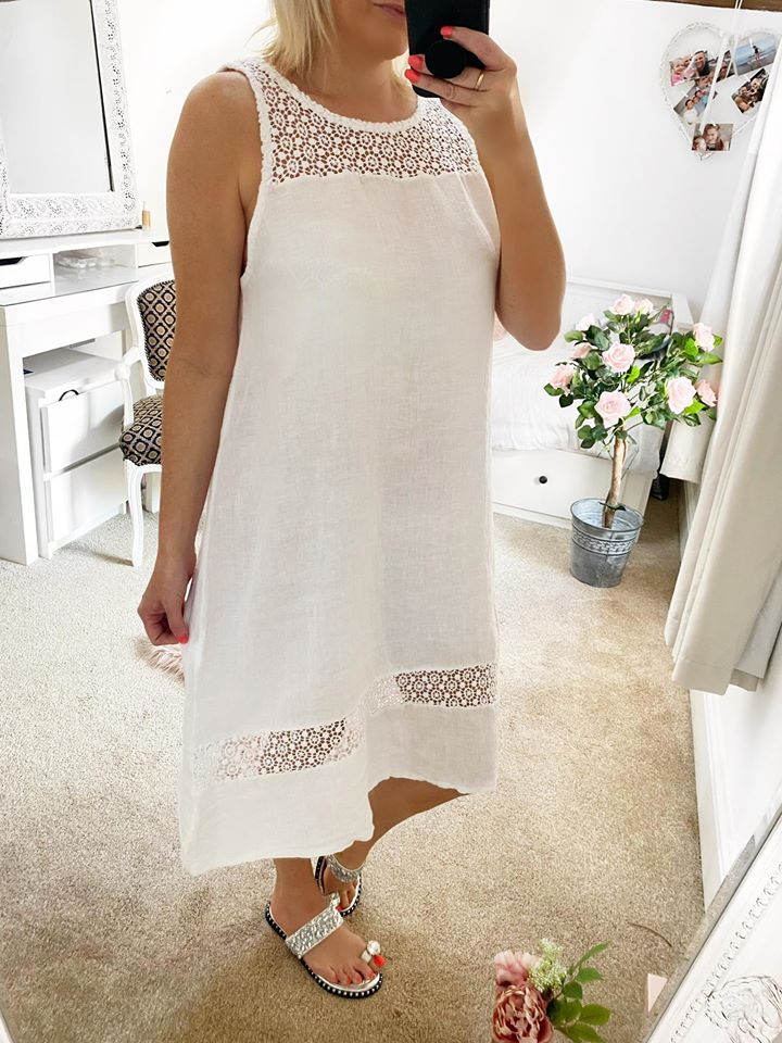 Cool Linen Dress - White