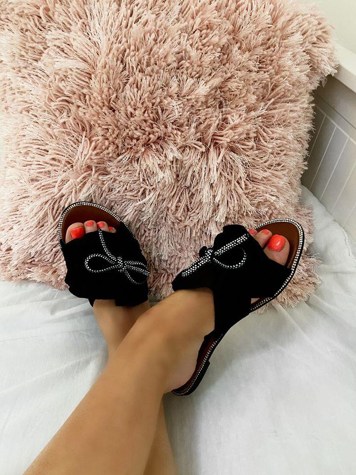 Black Suedette Sliders