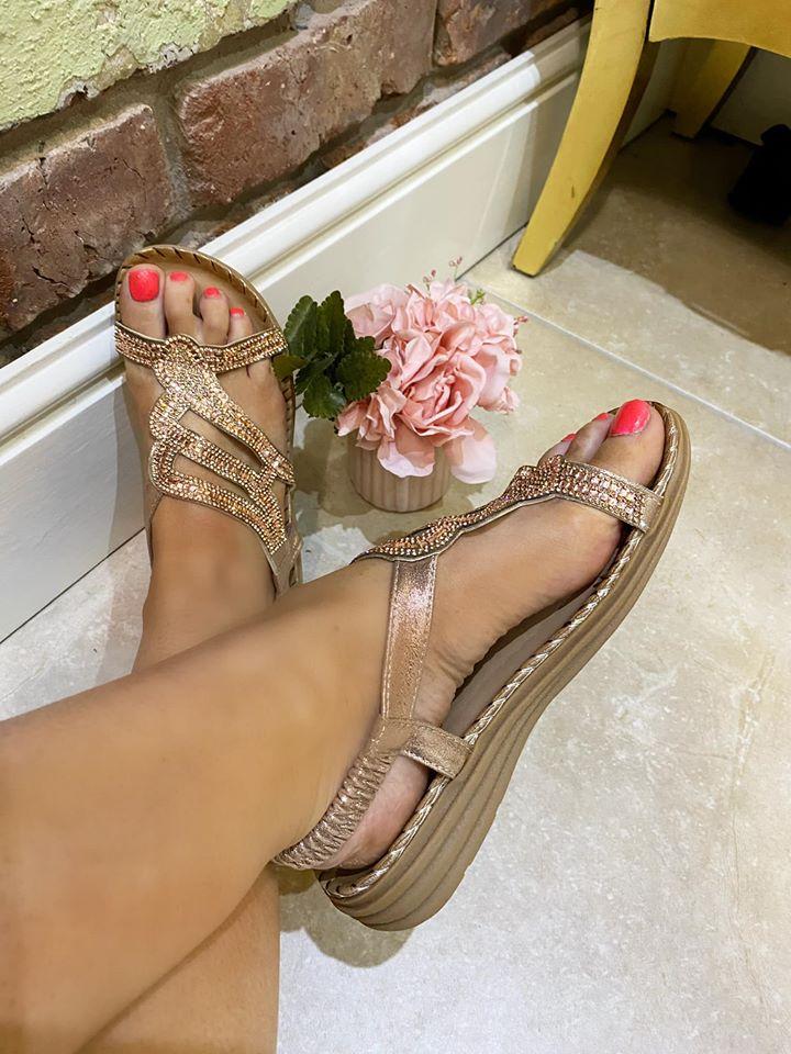 Rose Gold Winged Comfort Sandals