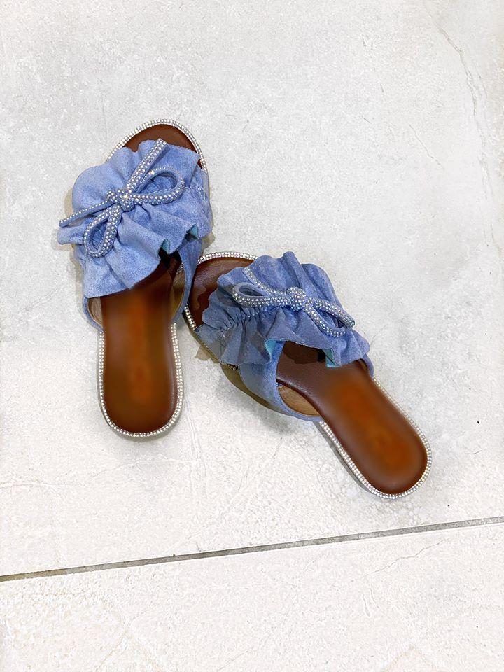 Denim Blue Suedette Sliders