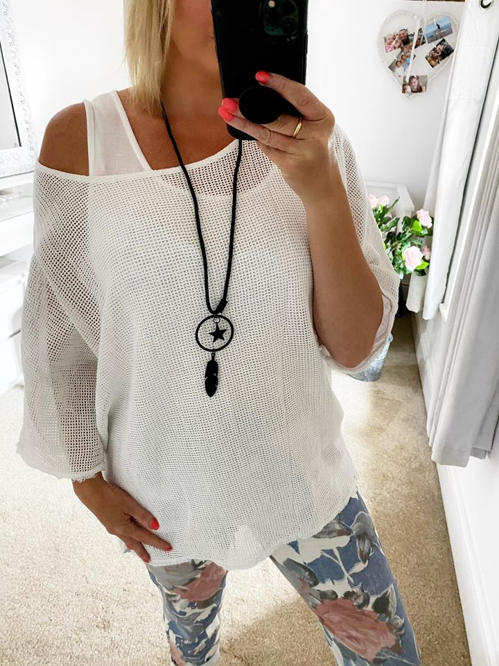 White Layered Mesh Top with Vest