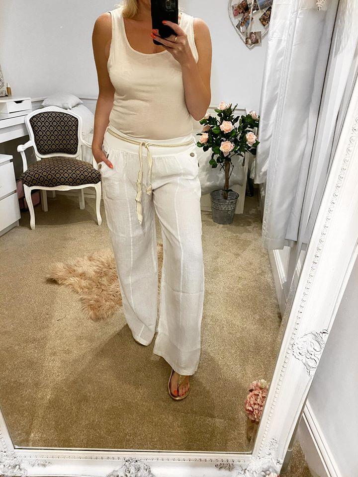 White Linen Wide Leg Pants ONE SIZE 10-16