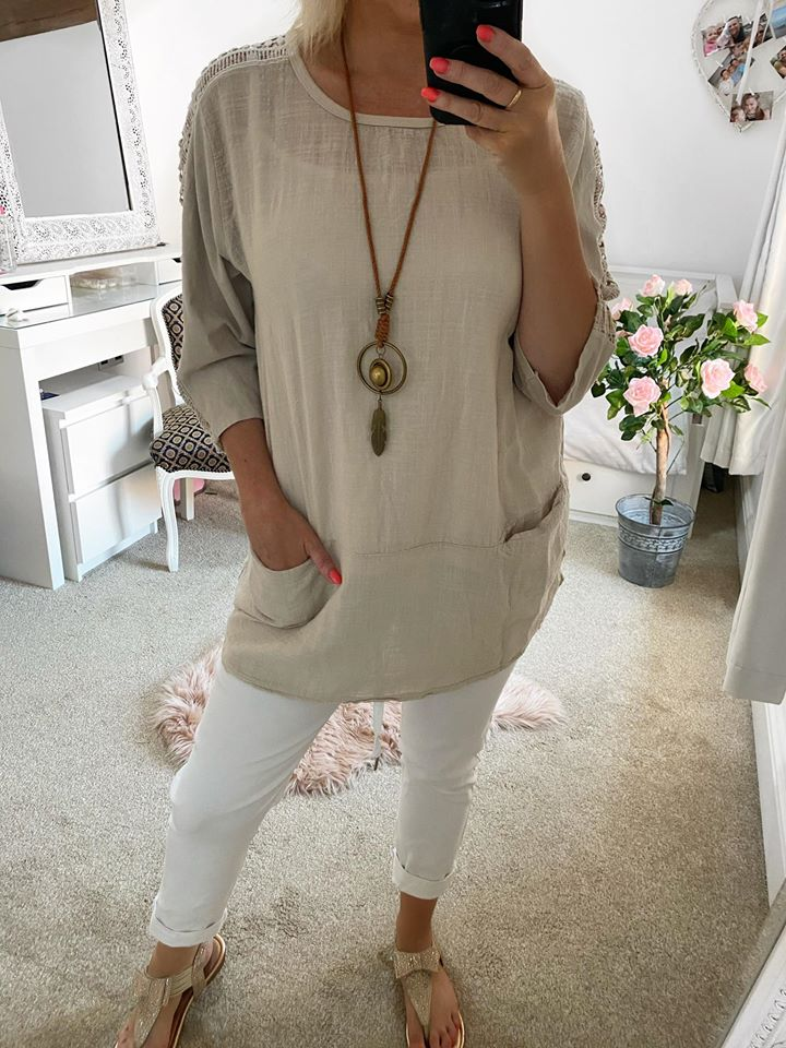 Stone Linen Pocket Top with Necklace