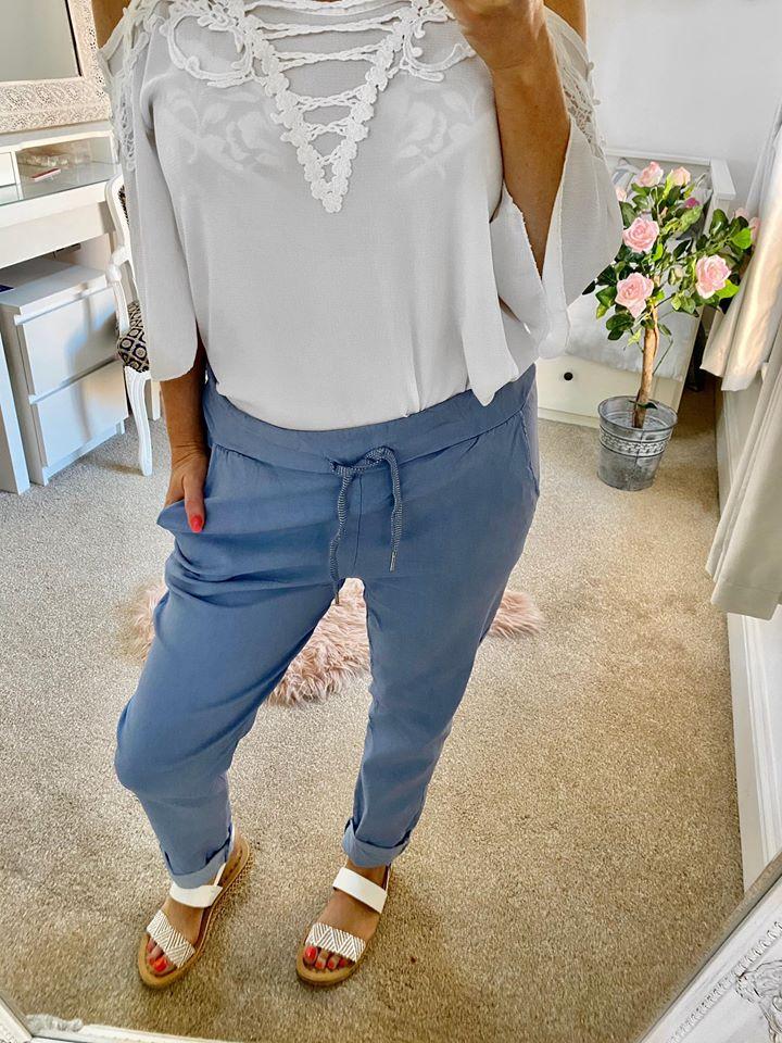 Magic Lounge Pants - Pale Blue Cotton