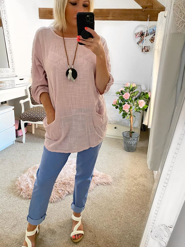 Dusky Pink Linen Pocket Top with Necklace