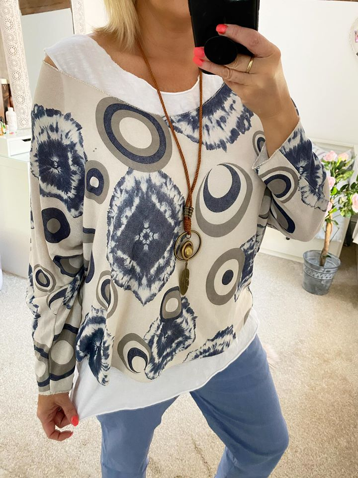 Layered Cream & Blue Top with Necklace