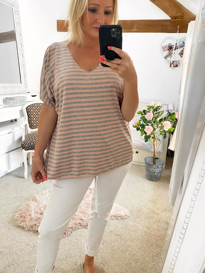 Pink & Grey Striped Jersey Top
