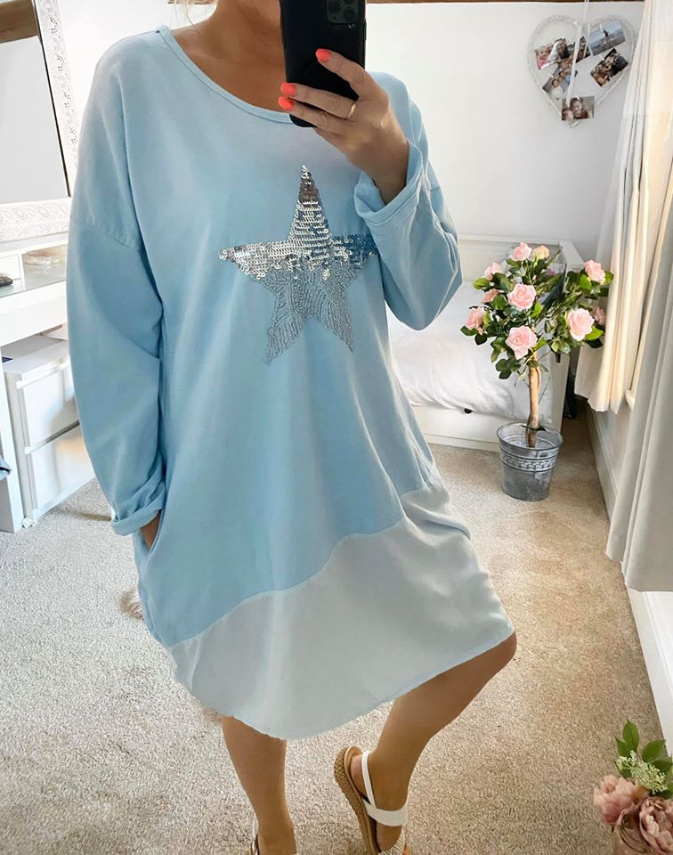 Sky Blue Jersey Shirt Dress with Pocket