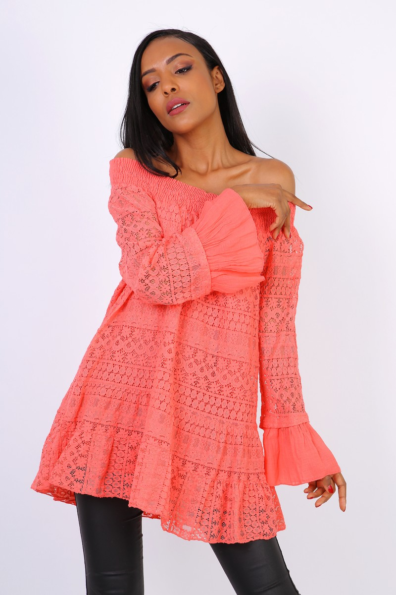 Rhianna Belle Sleeved Bardot Top - Coral