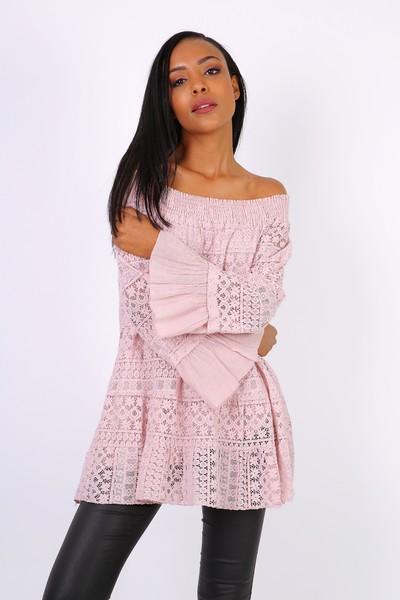 Rhianna Belle Sleeved Bardot Top - Pale Pink
