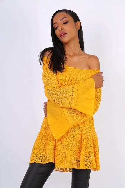 Rhianna  Belle Sleeved Bardot Top - Mustard