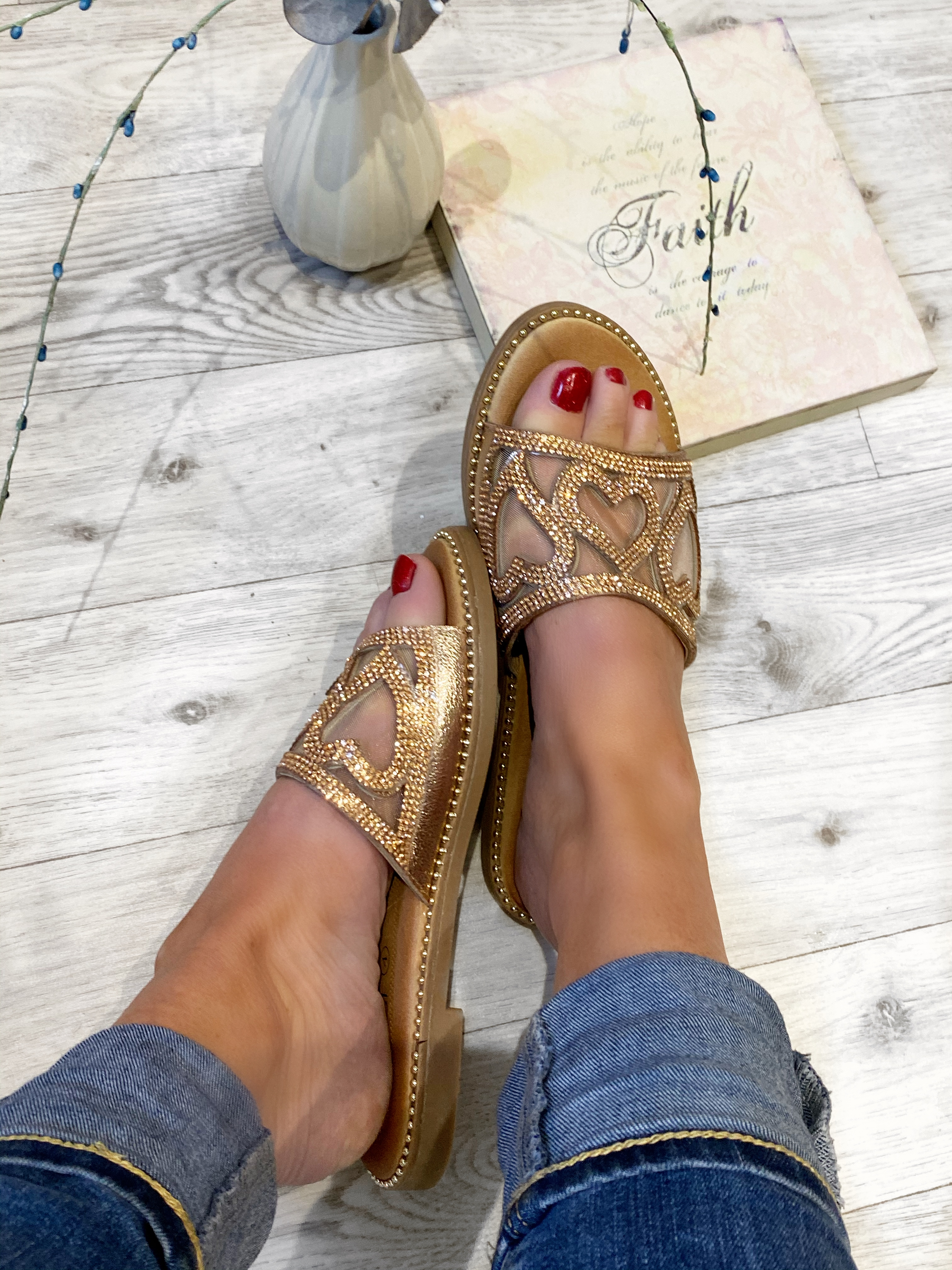 Rose Gold Diamante heart slips ons with cushioned sole