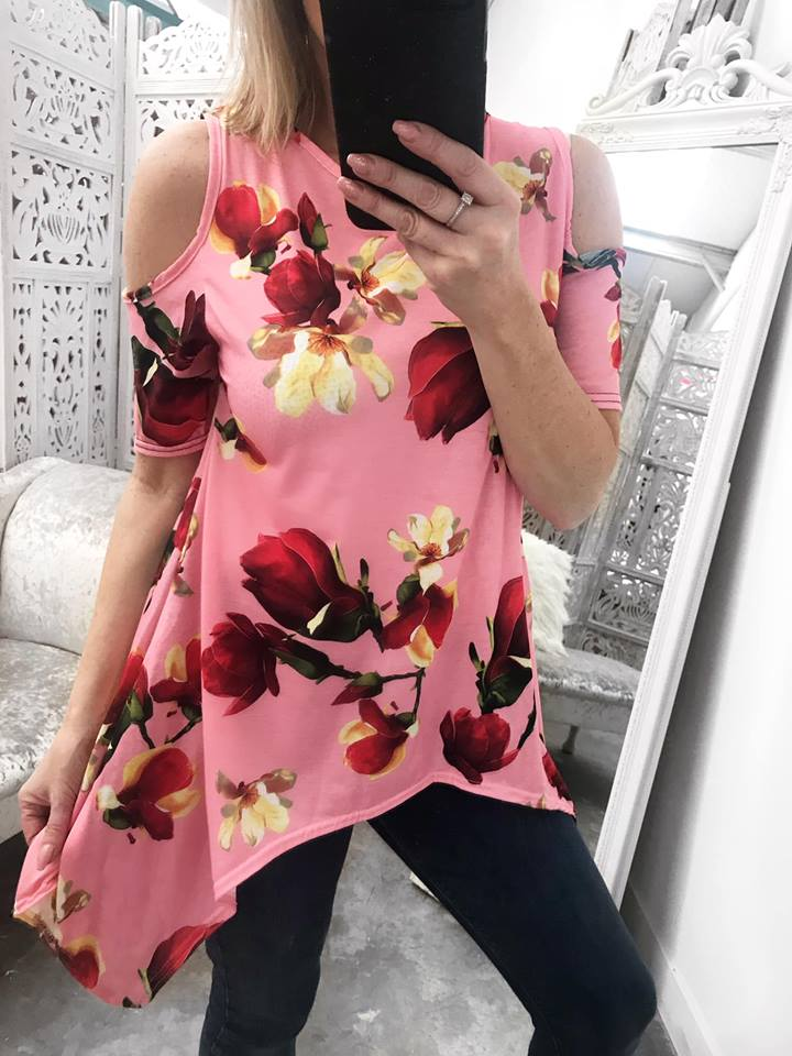 Astonia Cold Shoulder Waterfall Top  - Pink